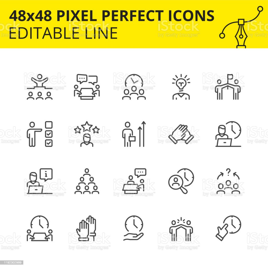 Office human resources and collaboration image Editable Icons for Office of Human Resources and Collaboration which includes Job Search, Communication, Team Management, Head Hunting etc. Pixel Perfect 48x48, Scaled Vector Set. 1980-1989 stock vector