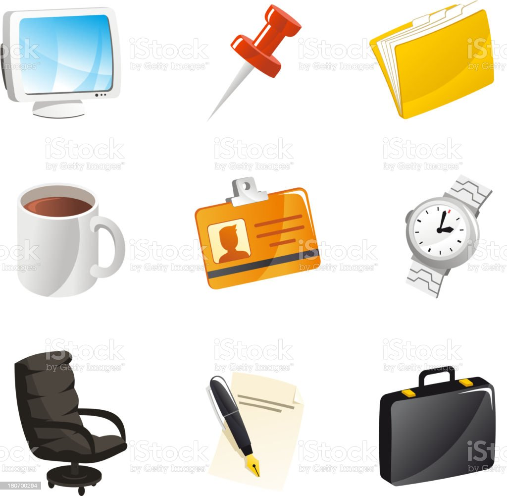 Office Icon Set Computer Pin Watch Coffee ID Suitcase royalty-free stock vector art