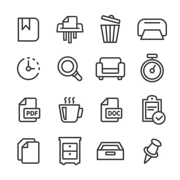 bildbanksillustrationer, clip art samt tecknat material och ikoner med office ikonuppsättning - line serien - byrålåda