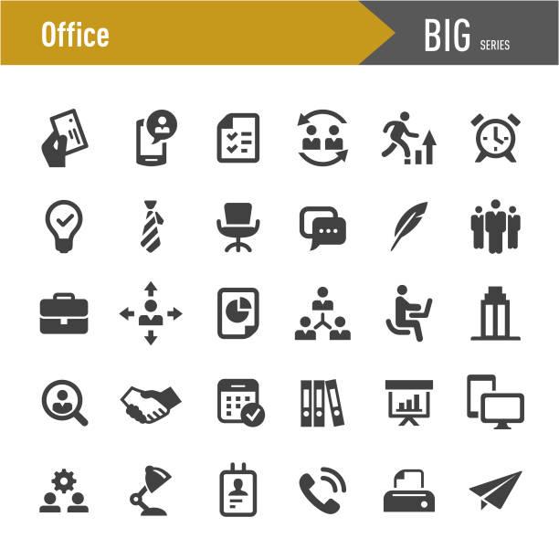 사무실 아이콘-큰 시리즈 - 단정한 사무복 stock illustrations
