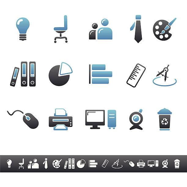 büro symbole/blue grey - palettenbilderrahmen stock-grafiken, -clipart, -cartoons und -symbole