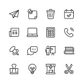 16 Office Outline Icons.