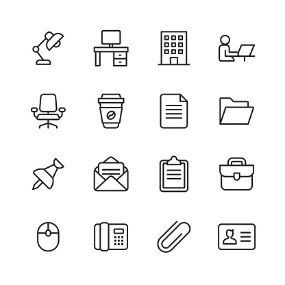 Office Icons. Editable Stroke. Pixel Perfect. For Mobile and Web. Contains such icons as Office Desk, Office, Chair, Coffee, Document, Computer Mouse, Clipboard.