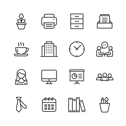 Office Icons. Editable Stroke. Pixel Perfect. For Mobile and Web. Contains such icons as Office, Plant, Printer, Office Tools, Conversation, Meeting, Coffee, Chart.