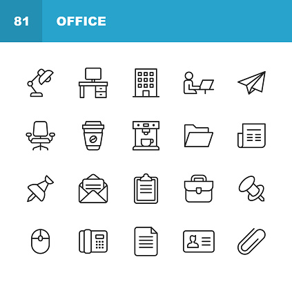 Office Icons. Editable Stroke. Pixel Perfect. For Mobile and Web. Contains such icons as Office Desk, Office, Chair, Coffee, Document, Computer Mouse, Clipboard, Light, Messaging, Communication, Email, Business Card. clipart