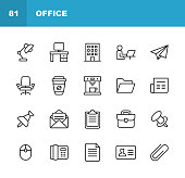 20 Office Outline Icons.