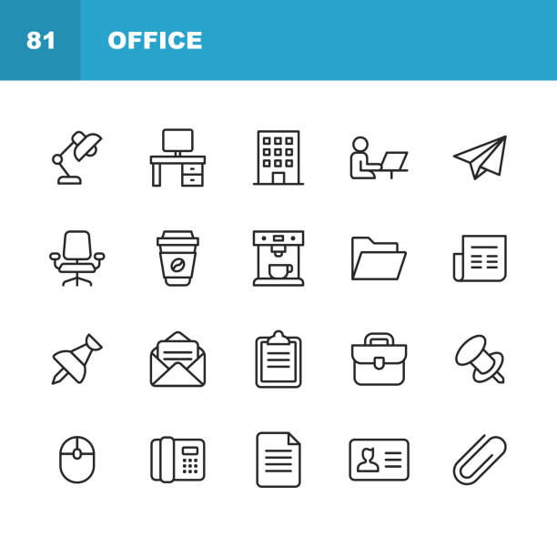 office icons. editable stroke. pixel perfect. for mobile and web. contains such icons as office desk, office, chair, coffee, document, computer mouse, clipboard, light, messaging, communication, email, business card. - work stock illustrations