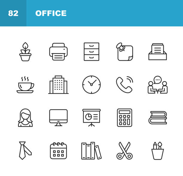 Office Icons. Editable Stroke. Pixel Perfect. For Mobile and Web. Contains such icons as Office, Plant, Printer, Office Tools, Conversation, Meeting, Coffee, Chart, Scissors, Necktie, Secretary. vector art illustration