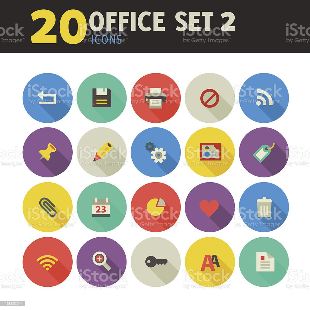 Office icons on circles, set 2 vector art illustration