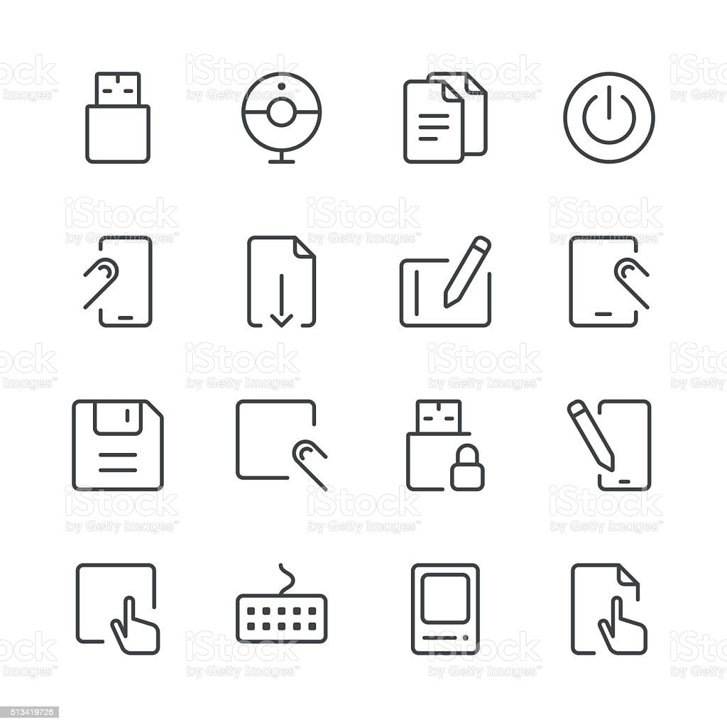Office Icons set 1 | Black Line series vector art illustration