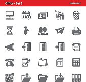 Professional, pixel perfect icons depicting various office and workplace concepts.