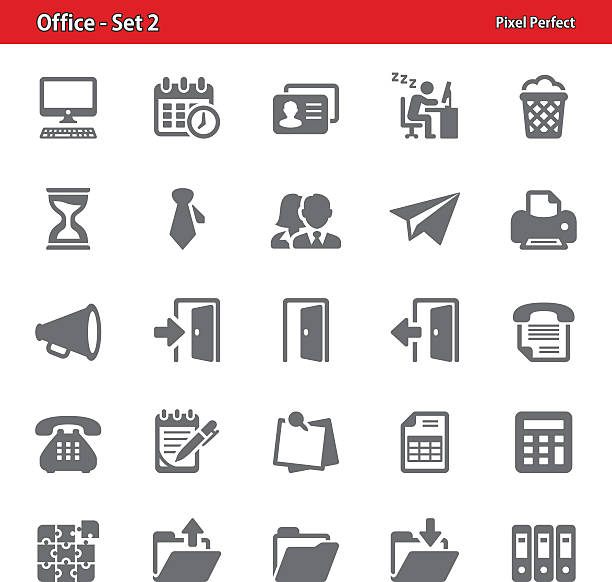 stockillustraties, clipart, cartoons en iconen met office icons - set 2 - business woman phone