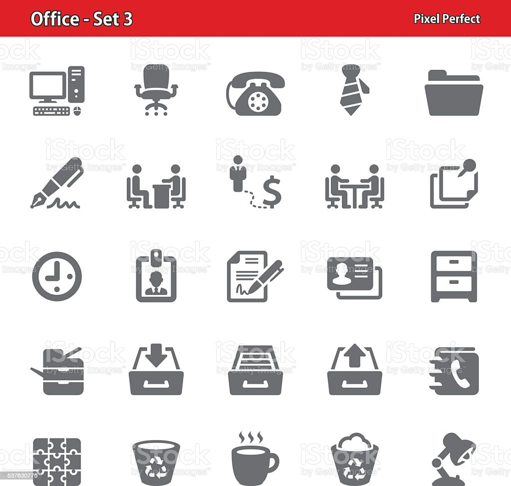 Office Icons - Set 3 vector art illustration