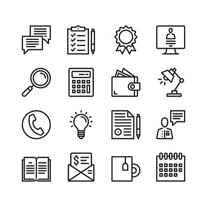 Office icons set. Pixel perfect. Linear, outline symbols. Thin line design. Vector line icons set