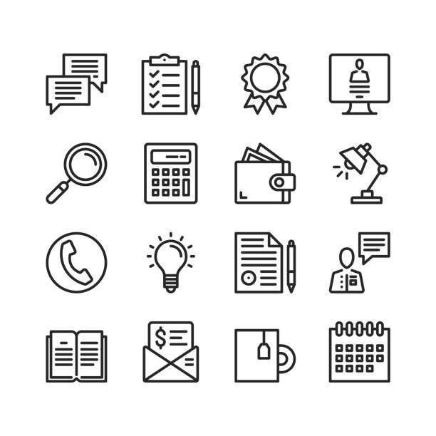 Office icons set. Pixel perfect. Linear, outline symbols. Thin line design. Vector line icons set vector art illustration
