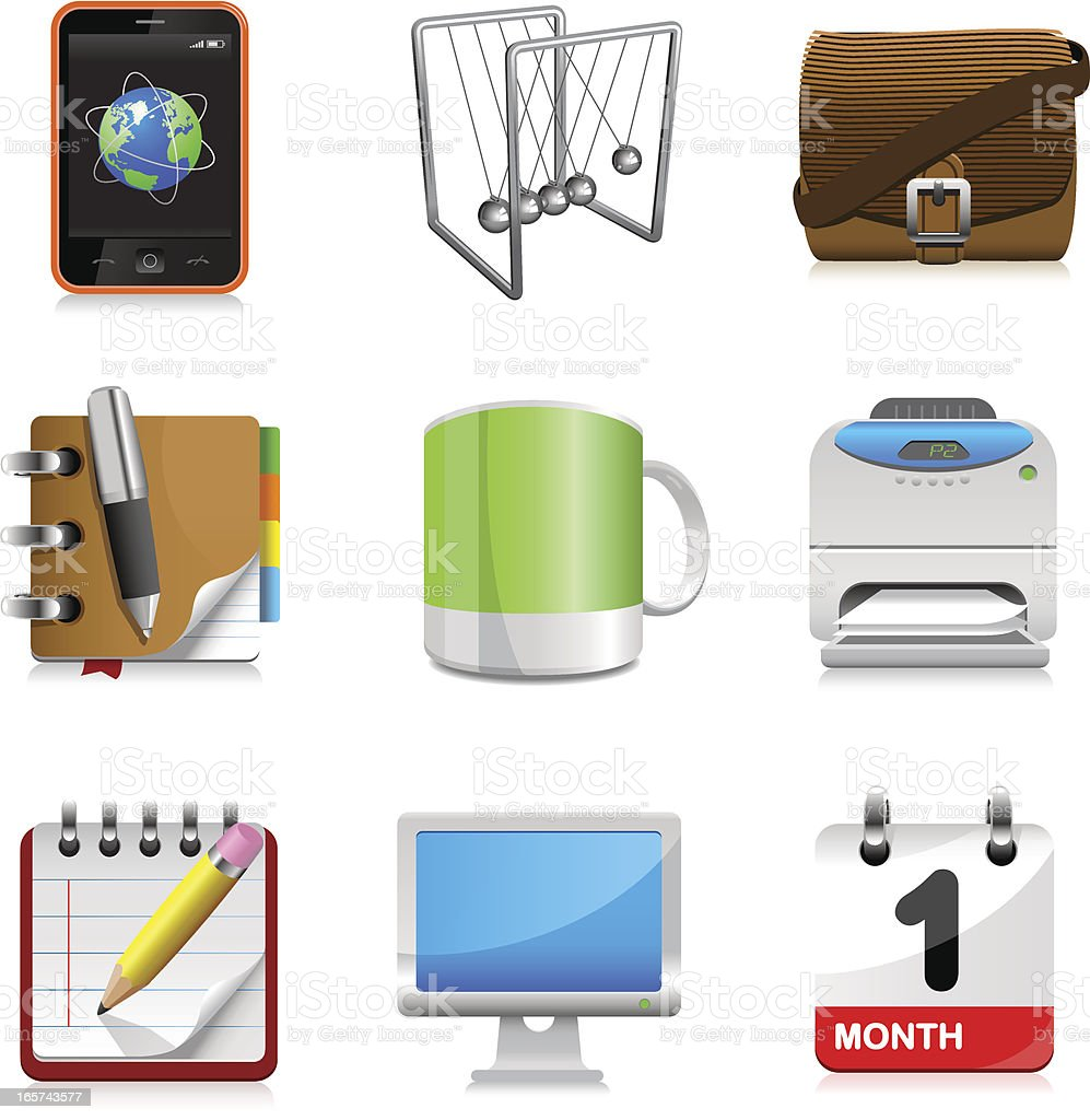 Office icons set royalty-free stock vector art