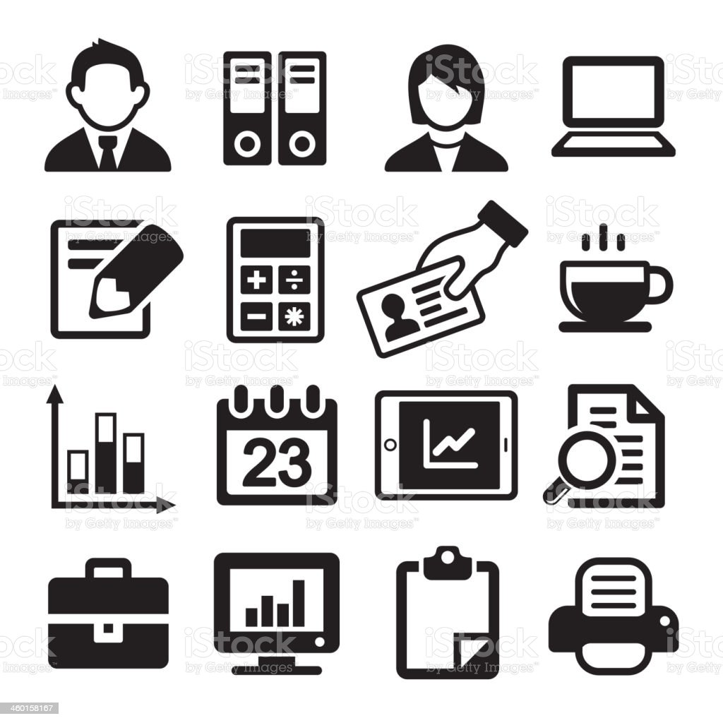 Office Icons Set vector art illustration