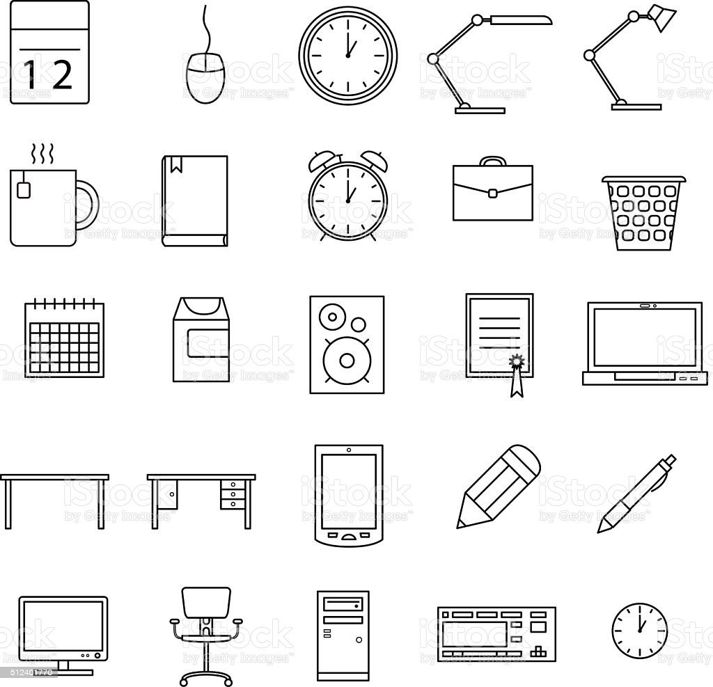 Office icons set vector art illustration