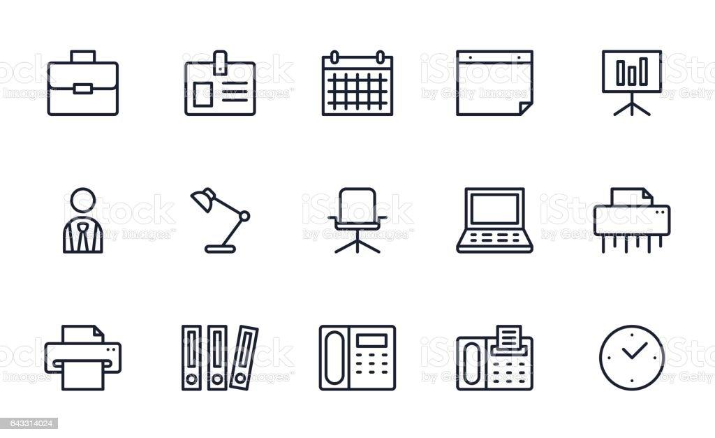 Buro Icons Set Stock Vektor Art Und Mehr Bilder Von Aktenordner