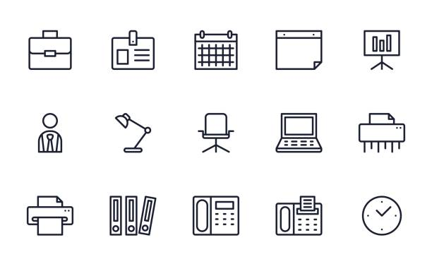 Office icons set Office icons set office chair stock illustrations