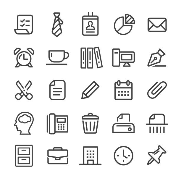 office icons - smart line series - tie stock illustrations, clip art, cartoons, & icons