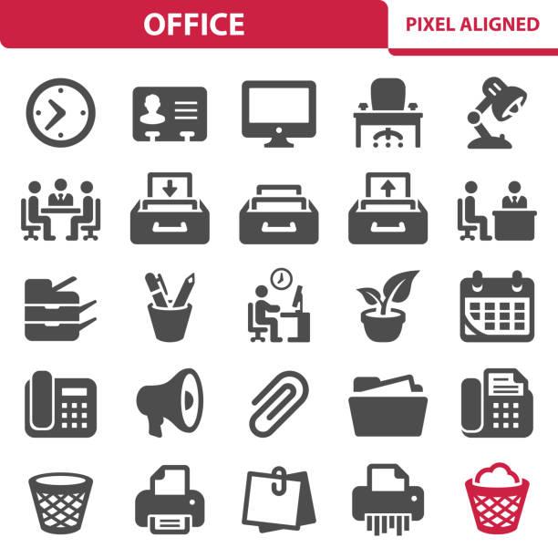 bildbanksillustrationer, clip art samt tecknat material och ikoner med office-ikoner - byrålåda
