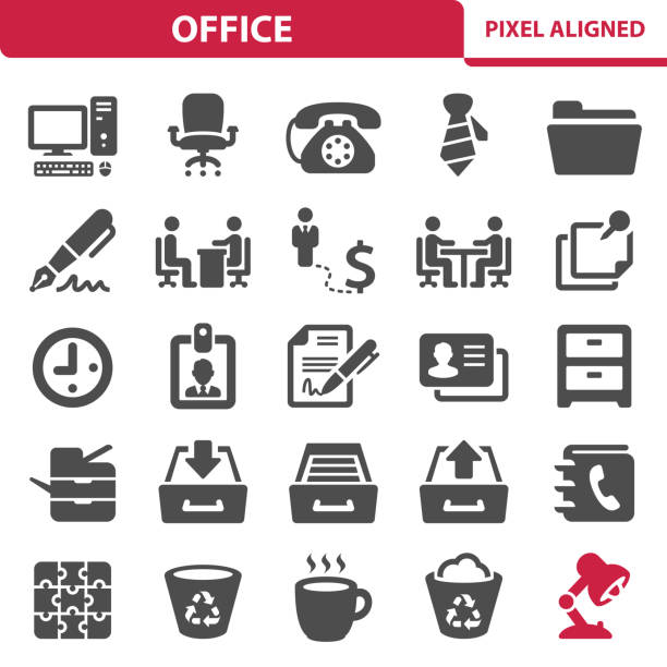 Office Icons Professional, pixel perfect icons, EPS 10 format. signature stock illustrations