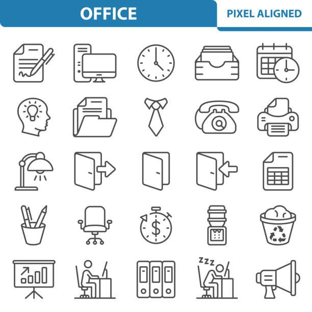 사무실 아이콘 - 단정한 사무복 stock illustrations