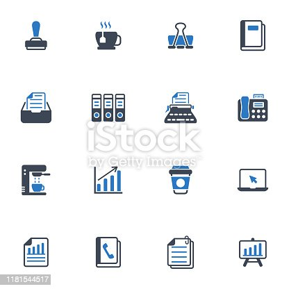 Office icons in blue gray color - Set 3
