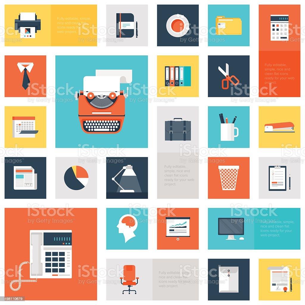 Office icons vector art illustration