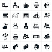 A set of business office icons. The icons include businessmen, businesswomen, computers, coffee, office chair, presentation, donuts, ID badge, calendar, boardroom, working at computer, office supplies, office equipment, interview and other related themes.