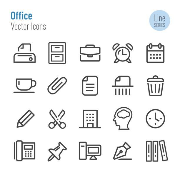 illustrazioni stock, clip art, cartoni animati e icone di tendenza di office icons - vector line series - borsa 24 ore