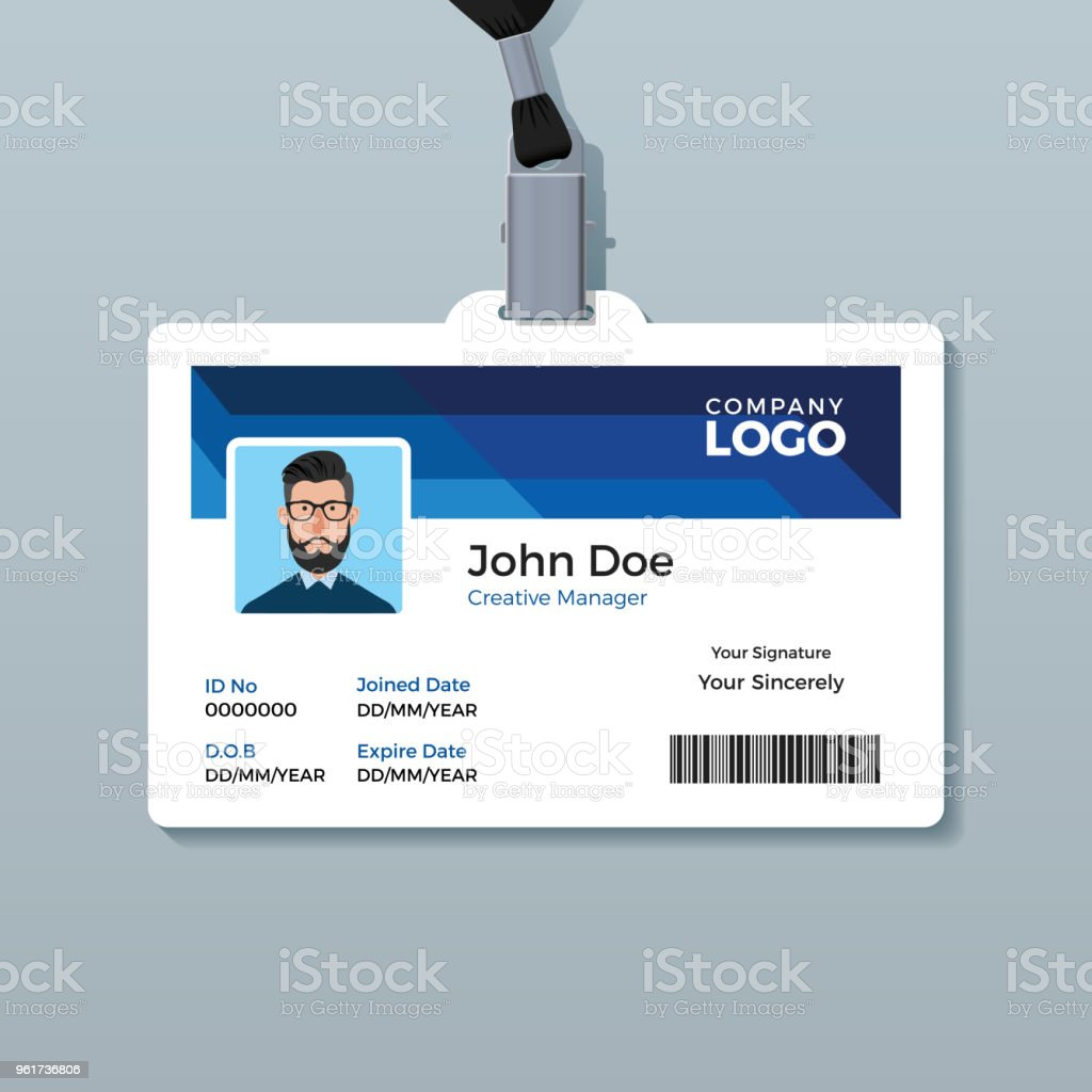 office id badge design template stock vector art more images of
