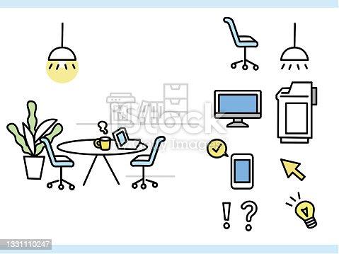 istock Office Illustration (Business, Pc, Interior, Lifestyle) Office illustrations .business, computer, interior design, lifestyle 1331110247