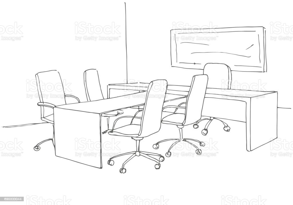 office desk drawing. office in a sketch style. hand drawn desk, chair. vector illustration desk drawing