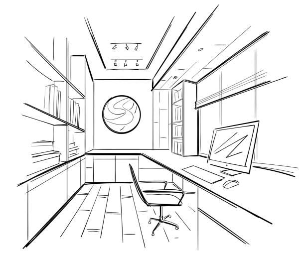 Büro im Skizzenstil. Handgezeichnete Büromöbel. Vector Illustration. – Vektorgrafik