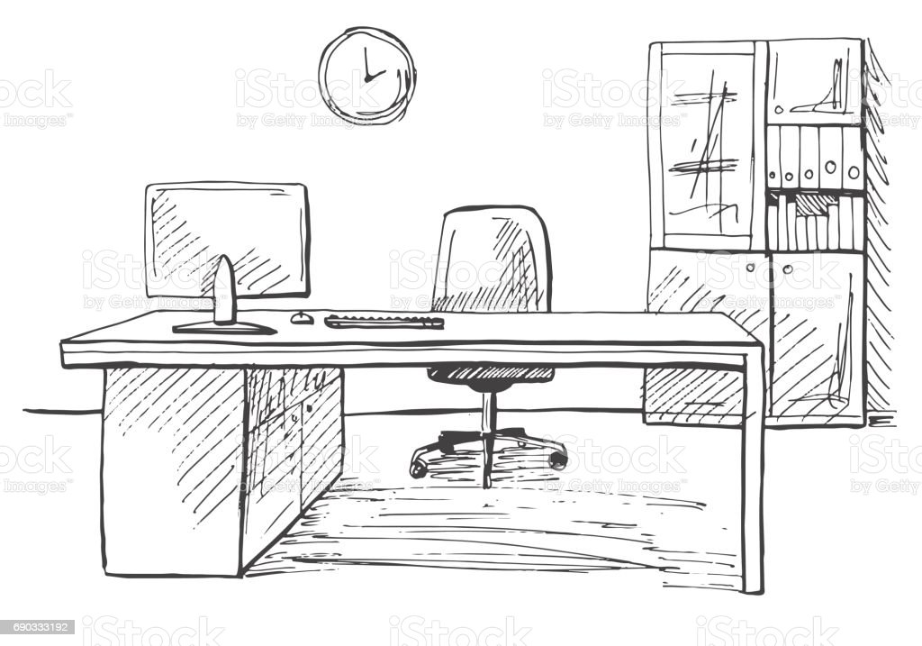 Office In A Sketch Style Hand Drawn Furniture Vector Illustration Royalty