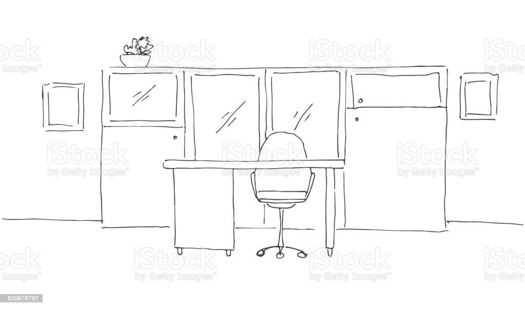 Ilustración De Oficina En Un Estilo De Dibujo Muebles De Oficina
