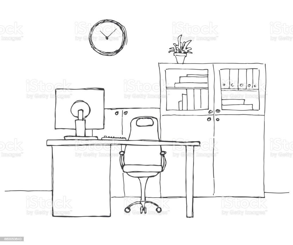 Ilustraci n de oficina en un estilo de dibujo muebles de for Dibujo de una oficina moderna