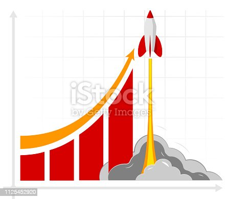 Office infographics showing growth rates, sales, profits or revenues. For an article about a startup or start a business. The result of business training