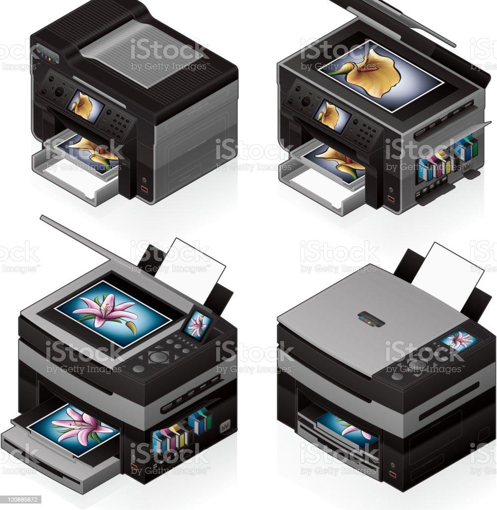 Office InkJet Printer royalty-free office inkjet printer stock vector art & more images of blue