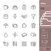 Office Instrument related single line icons pack.
