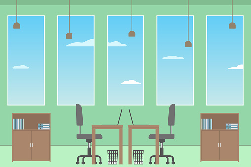 Office interior. Co-working space. Vector illustration