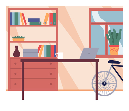 Office interior design, table with cup and laptop, cabinet with folders, books, vase, plants in pots