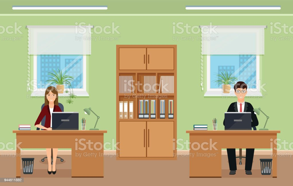 office reception desk designs. Office Interior Design With Male And Female Staff Furniture. Employee Sitting On Working Reception Desk Designs