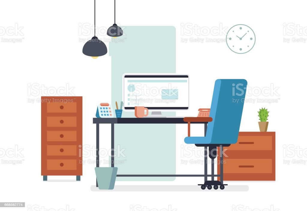 Intérieur de bureau design style plat salle de travail dentreprise