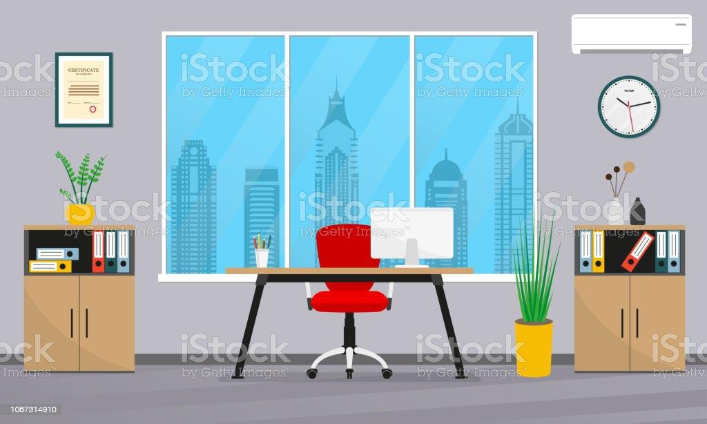 Intérieur de bureau plat style espace de travail affaires moderne