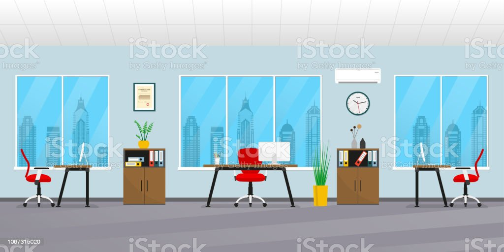 Office Interior In Flat Style Modern Business Workspace With ...