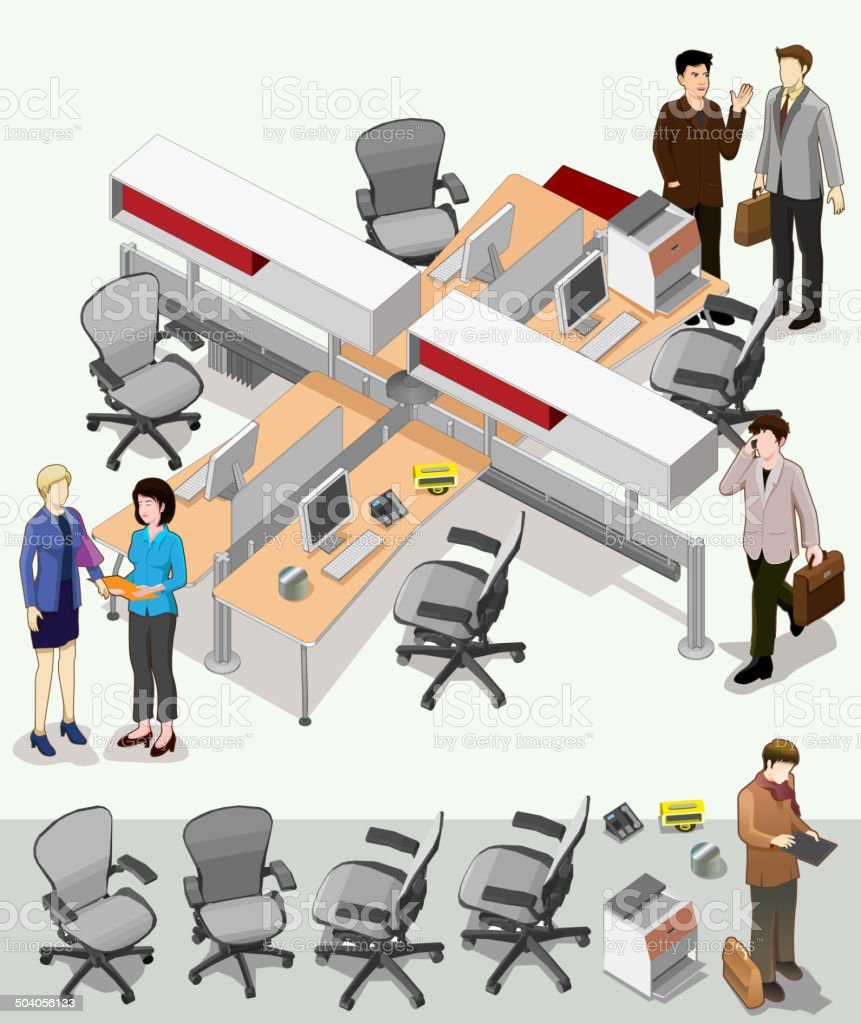 office interior isometric vector. set of workstation area vector art illustration