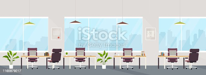 Office interior modern creative space with empty workplaces. Office space with panoramic windows, co-working center.